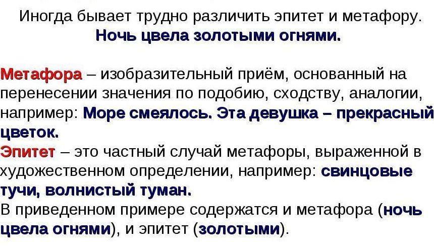 Сравнение метафоры и эпитета.