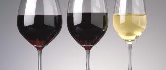 Бокалы под красное и белое вино.
