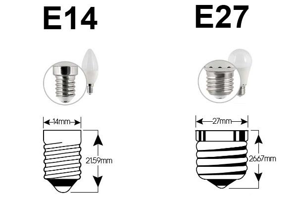 В чём разница между цоколем Е14 и Е27.