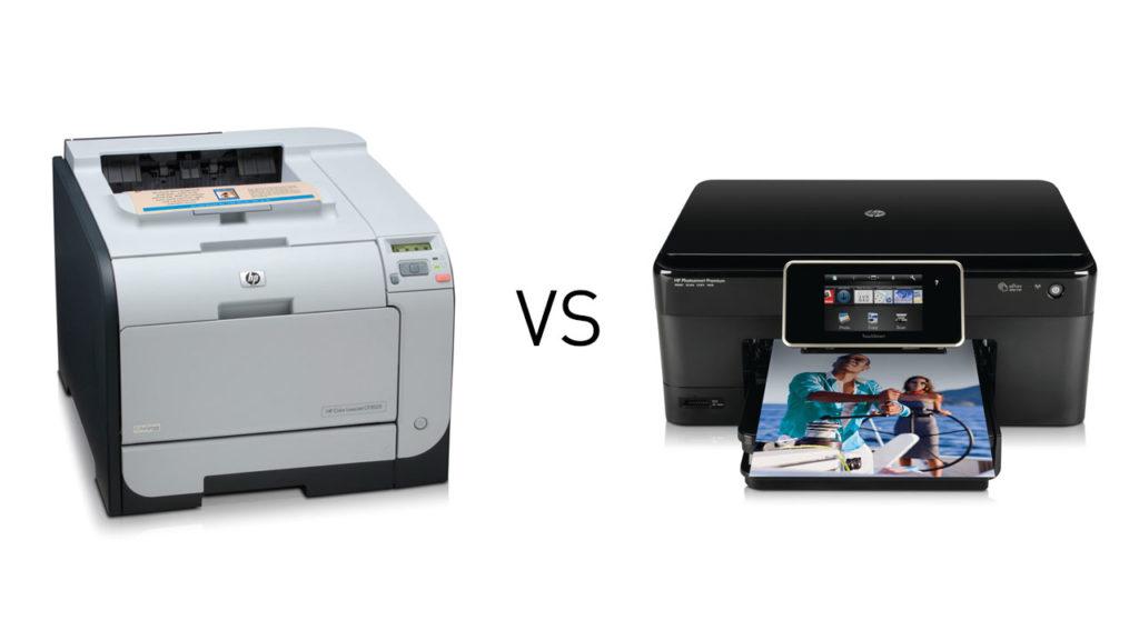 Отличие лазерного принтера от струйного.
