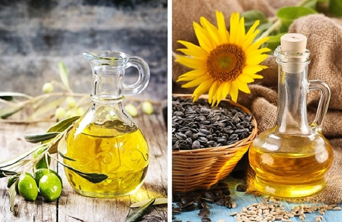Разница между оливковым маслом и подсолнечным.