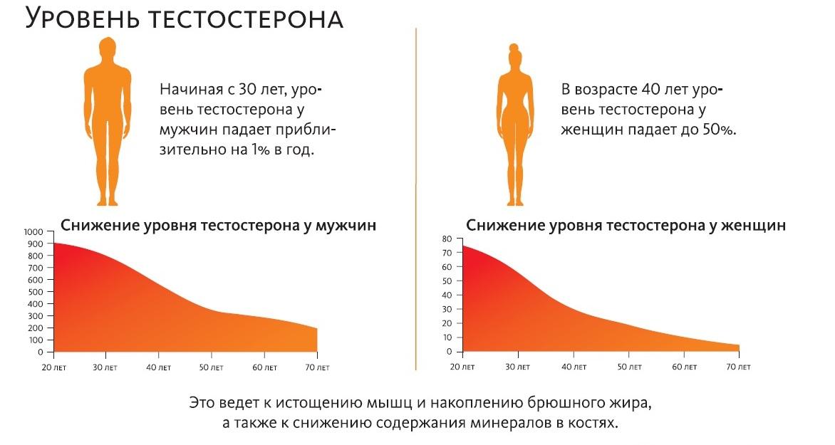 Падение уровня тестостерона.